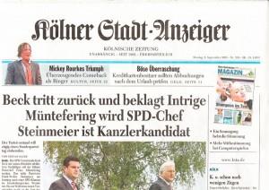 Schlagzeile mit Schlagzahl im Kölner Stadtanzeiger