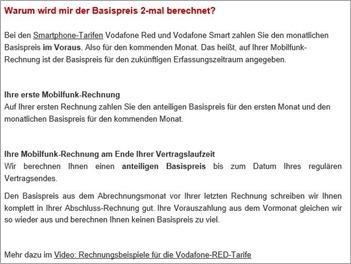 Vodafone Rechnung Screenshot